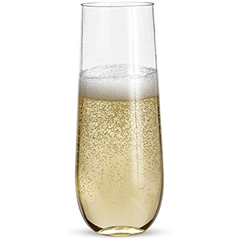 24 Stemless Plastic Champagne Flutes – 9 Oz Plastic Champagne Glasses   Clear Plastic Unbreakable Toasting Glasses…