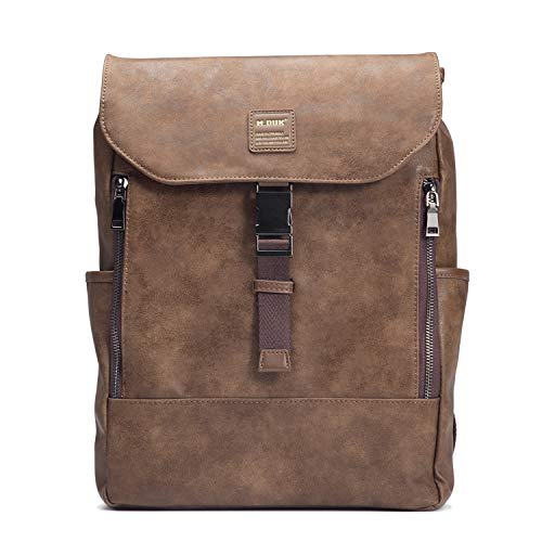 """Leather Backpack, FIXM Vintage PU Leather Laptop Backpack for Men with Multiple Pockets, 14.8×10.6×3.5"""" Soft, Durable Backpack, Great for School, Casual, Business & Travel - Brown#6 from Fixm"""