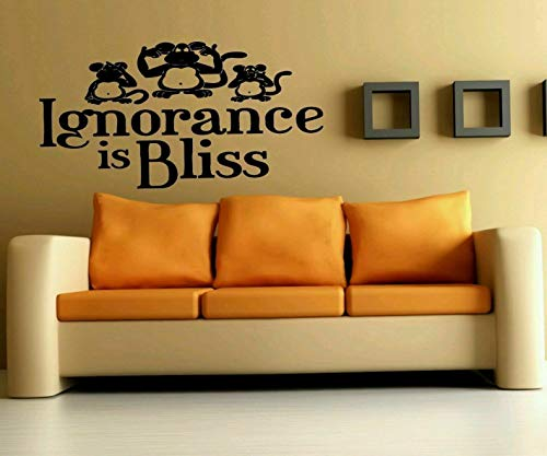 Tomikko Funny Monkey Quote Decal, Ignorance Bliss Lettering, nusery Decor Sticker #866   Model DCR - 1033