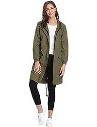 Womens Outdoor Waterproof Lightweight Windbreaker Raincoat Hooded Rain Jacket