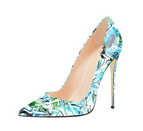 SexyPrey Women's Pointed Toe Stilettos Multi-color Graffiti Pumps Slip On High Heel Court Shoes Fantasy-Blue SUpoWO
