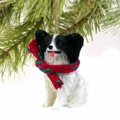 Papillon Miniature Dog Ornament - Black & White
