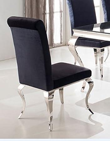 Esszimmerstuhl luca barock design samtstoff stof schwarz stuhl ...