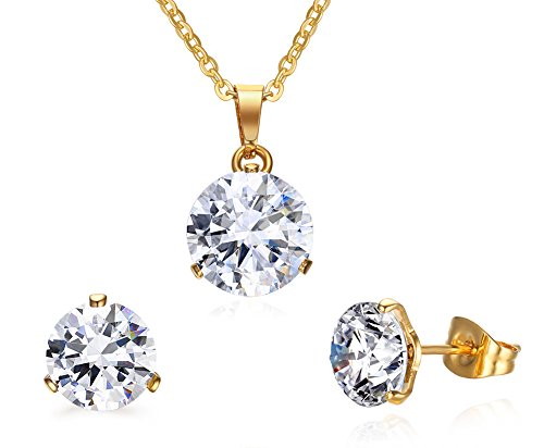 Vnox Stainless Steel Cubic Zirconia Necklace and Earrings Jewelry Set,Gold Plated