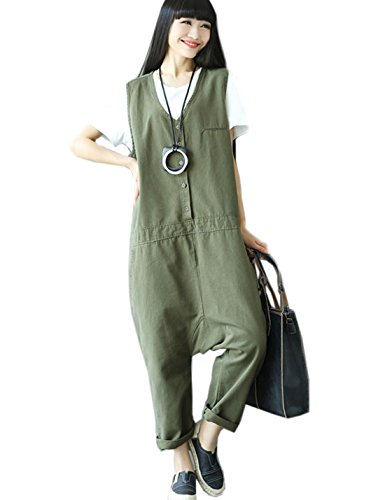 Flygo Women's Loose Baggy Cotton V Neck Jumpsuit Rompers Overalls Harem Pants (One Size, (116 Bib Pant Green)