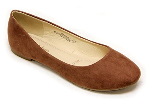 Rounded Slip Comfortable Toe Ballerina Womens Coffee Suede Flats Classic flats On 12 Dana Anna 1qRwv0R