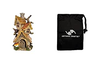 Darice Fairy Garden Miniatures House 3 Story Branch Resin 12in. 1Pc (3 Pack) 30005336 bundled with 1 Artsiga Crafts Small Bag