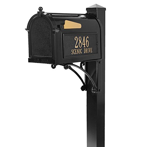 Whitehall Custom Premium Capitol Mailbox and Side Mount Post Package - Black Personalized in Goldtone (Premium Mailbox Whitehall Package)