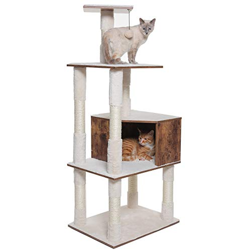 USIKEY Wooden Cat Tree with Scratching Posts, Cat Activity Tree with 1 Plush Perch, Modern Cat Towers with 1 Large Plush…