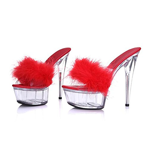 Femmes Sandales Shoes épais Transparent Talons à Hauts Sandals Red Forme pour Imperméable Fond Pantoufles Model with Plate LLP Fine Fond AfEqvx