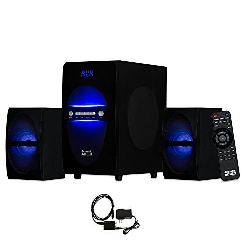 Acoustic Audio AA2106 Bluetooth Home 2.1 Speaker System with LED Lights and Optical Input