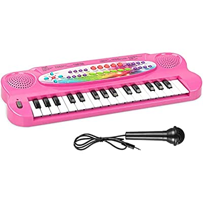 AIMEDYOU Kids Piano Keyboard 32 Keys Portable Electronic Musical Instrument Multi-Function Keyboard Teaching Toys Birthday Christmas Day Gifts for Kids (Pink): Toys & Games