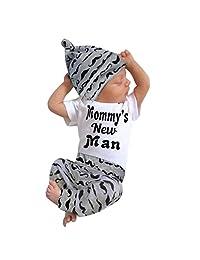 LAIMENG 3Pcs Set Infant Clothes Baby Boy Romper Tops+Long Pants+Hat Cute Fashion Mustache Print Outfits (0-3M, Black)