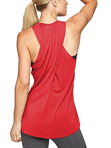 Bestisun Women's Sexy Yoga Tank Top Back Crossover Workout Sport Acitvewear Shirt Racerback T-Shirt Knit Tee Red L