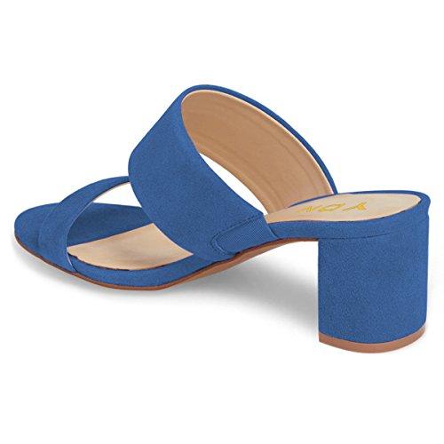 Ydn Women Block Muli A Tacco Basso Slip On Pumps Open Toe Sandali Con Zeppa Scarpette Blue