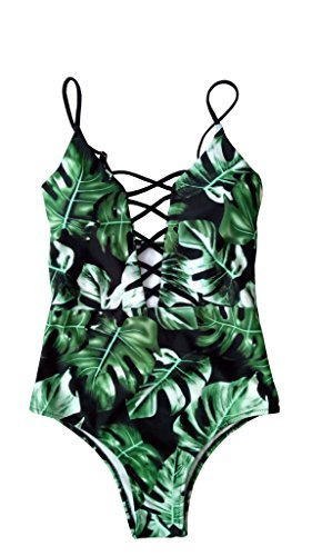 One Print Swimsuit Piece - Sondiborn Swimwear Women's One Piece Criss Cross Front Swimsuit Solid Color Floral Print Monokini (M, Print in Green)