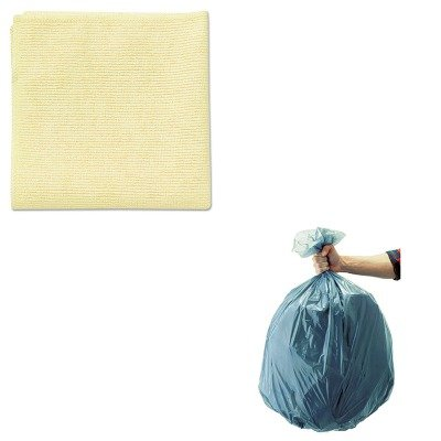 KITRCP1820584RCP501188GRA - Value Kit - Rubbermaid Microfiber Cleaning Cloths, 16 X 16, Yellow (RCP1820584) and Rubbermaid 5011-88 Tuffmade Polyliner Low-Density Can Liners, 55 Gallons (RCP501188GRA)
