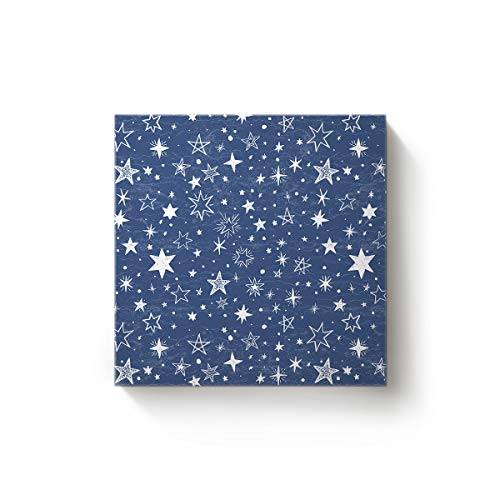 (EZON-CH Canvas Wall Art Square Oil Painting Modern Artworks Office Home Decor,Hand Painted Galaxy Star with Blue Sky Canvas Artworks,Stretched by Wooden Frame,Ready to Hang,12 x 12)