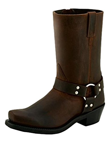 Old West Boots Women's Harness Boot Brown Distressed 7.5 B US