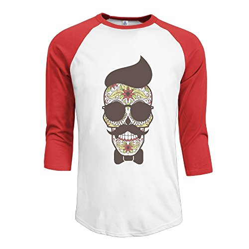 Men's Contrast Color Funny Skull With Glasses Raglan Baseball T-Shirt