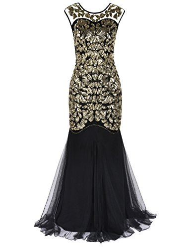 Sequin 1920s Mermaid Evening Long PrettyGuide Black 's Hem Gatsby Women Gold Dress Prom Maxi q1gFWwIa6x