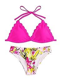 SweatyRocks Trajes de baño Sexy para Mujer con Parte Superior de Bikini de Dos Piezas con Estampado Floral