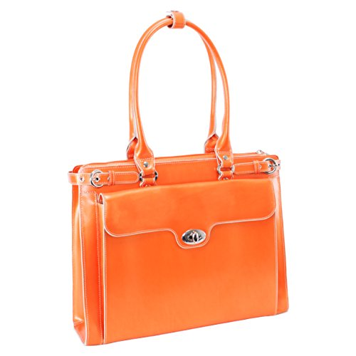 McKleinUSA WINNETKA 94830 Orange Leather Ladies' Briefcase w/ Removable Sleeve