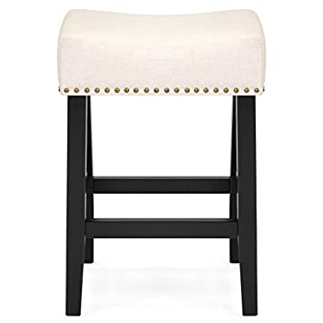 Best Choice Products Set of 2 Backless Linen Upholstered 26 Bar Stools w Decorative Nailhead Trim Beige
