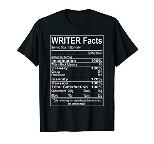 Writer Facts Storyteller Nutrition Information T-Shirt