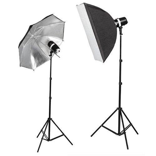 CowboyStudio 220 Watt Photo Studio Monolight Strobe/Flash Softbox Umbrella Lighting Kit - 2 Studio Flash/Strobe, 1 Softbox, 1 Reflective Umbrella (Monolight Photo)