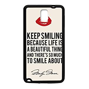 COBO Marilyn Monroe Keep smiling Quote Cell Phone Case for Samsung Galaxy Note3