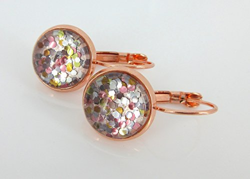 Multi Collection Metal (Rose Gold-tone Pearly Silver and 5 Metal Glitter Glass Drop Earrings Hand-painted)