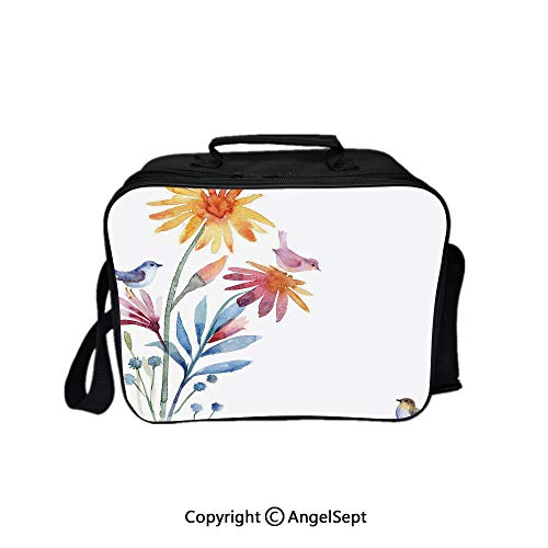 Reusable Lunch Bag With Adjustable Shoulder Strap,Springtime Flowers with Birds Unusual Color Scheme Brush Effect Decorative Slate Blue Amber Levander 8.3inch,Office Work Picnic Hiking Beach Lunch Bo