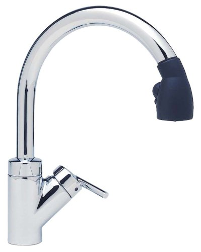 Blanco 157-090-CR Rados With Pull-Down Spray Kitchen Faucet, Chrome with Black Spray