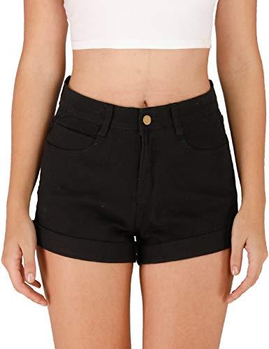 Haola Women's Juniors Vintage Denim High Waisted Folded Hem Jeans Shorts Black XL
