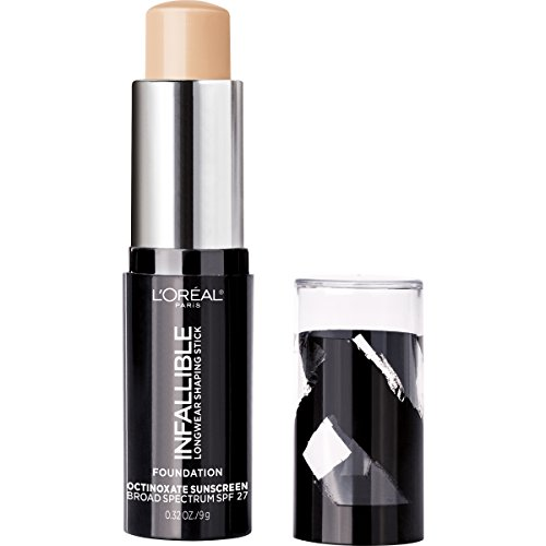 L'Oreal Paris Makeup Infallible Longwear Foundation Shaping Stick, Up to 24hr Wear, Medium to Full Coverage Cream Foundation Stick, 401 Ivory, 0.3 oz.