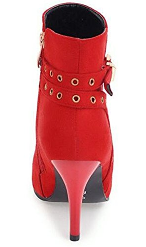 Toe Holes Zipper Pointed Stiletto IDIFU Boots With Frosted Red High Womens Ankle Buckle Heels Unique wAqBXBEa