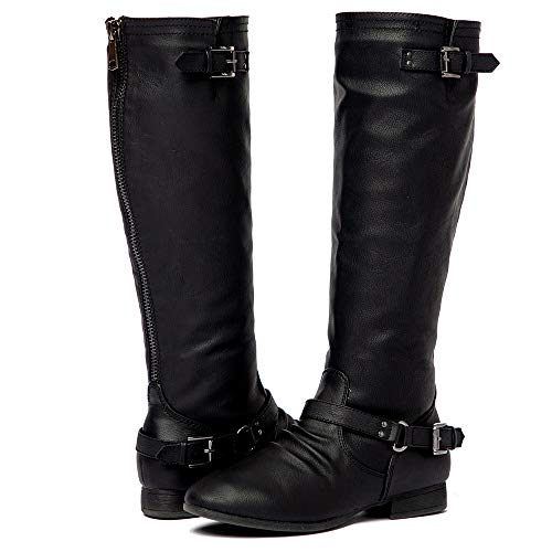 Women's Block Low Heel Knee High Boots Zipper Closure with Buckle Fashion Riding Boots Black 11