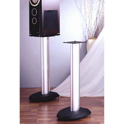 VTI Manufacturing VSP24SB Black Base Silver Aluminum Pole 24 in. Height Speaker Stand