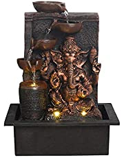 ARTINEST Lord Golden Brown Ganesha Five Step Indoor Tabletop Home Centric Water Fountain with Light and Adjustable Speed Control (Size: 40 x 29.5 x 22 cm)