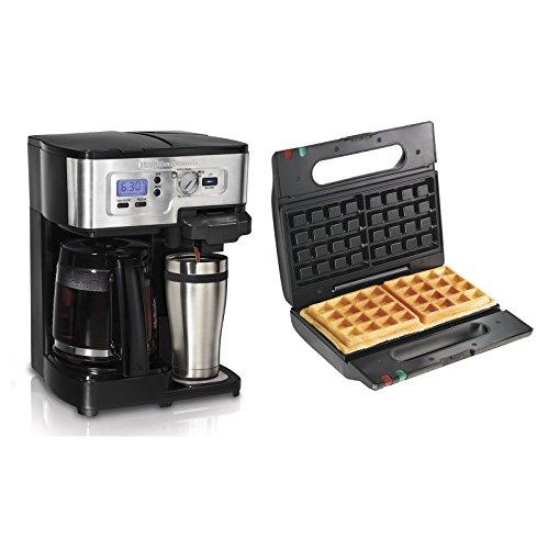 Hamilton Beach FlexBrew 12 Cup Coffee Maker + Proctor-Silex Belgian Waffle Maker (Beach Dual Coffee Maker Hamilton)