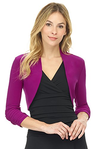 Rekucci Women's Chic Soft Knit Stretch Bolero Shrug with Ruched Sleeves (Large,Magenta)