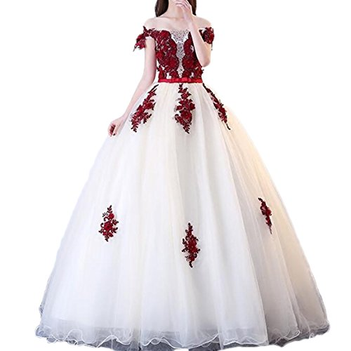 5083de3648 ... Off Shoulder Quinceanera Dress Red Appliques Prom Dress 2018 Long Tulle  Party Ball Gown White