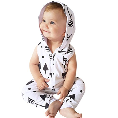DORIC Infant Kids Baby Boys Arrow Printed Hooded Romper Jumpsuit Outfits Clothes Sets