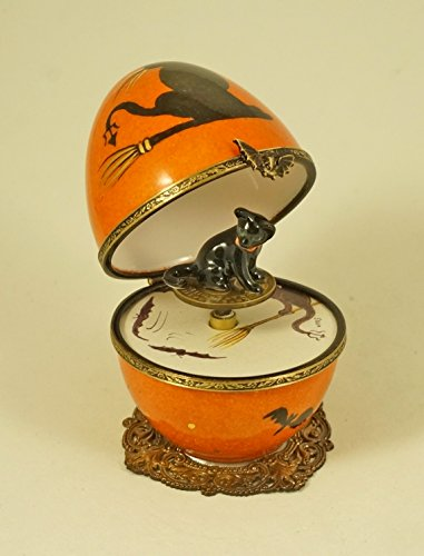 Authentic French Porcelain Hand Painted Limoges box Halloween Musical Egg with Black Cat ()