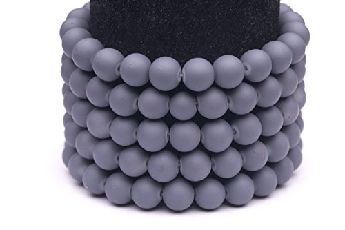 Frosted glass beads grey rubber-tone beads 10mm round Sold per pkg of 2x32inch (180 BEADS)