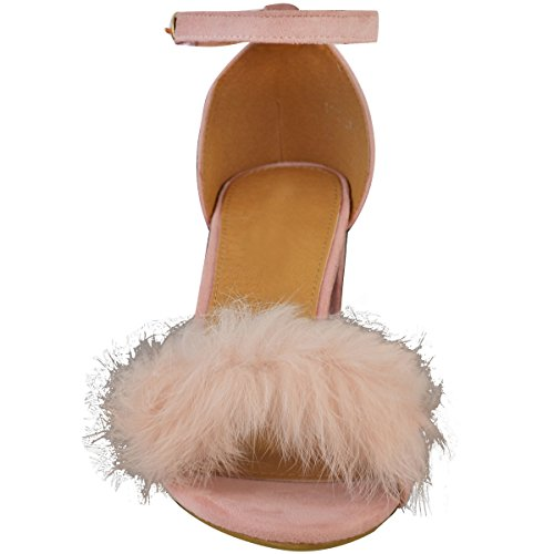 Fashion Thirsty Womens Ladies Faux Fur Fluffy Low Wedge Heel Sandals Strappy Party Shoes Size UK Pastel Pink Faux Suede fr3GLuXJe