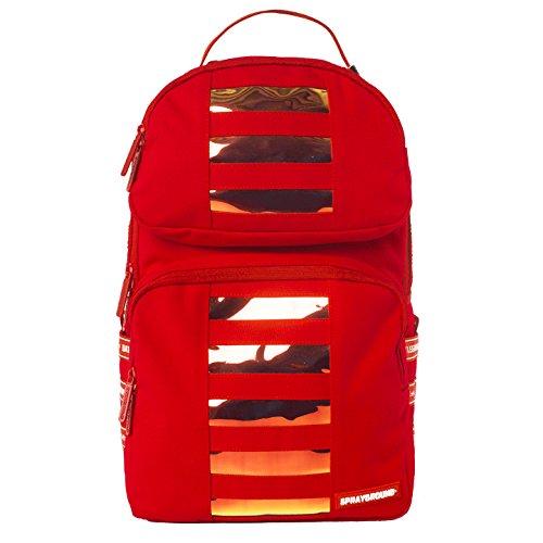 【B1456】 スプレーグラウンド SPRAY GROUND バックパック パソコンケース おしゃれ かっこいい カタカナ レインボーカラーライン 赤 Fサイズ(男女兼用) (01)赤 B07FY528WV