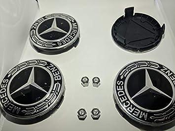 ETYN 4 tapacubos de aleación para Mercedes Benz con Insignias de 75 mm, Emblema de buje Negro con Tapas de Polvo de Mercedes Gratis: Amazon.es: Coche y moto