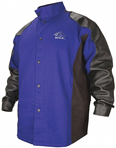 BSX Blue/Black 100% 9 oz. Flame-Resistant Cotton Body and Grain Pigskin Sleeves Welding Jacket, Size: M,